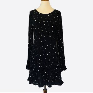 Skater dress bell sleeves navy with stars